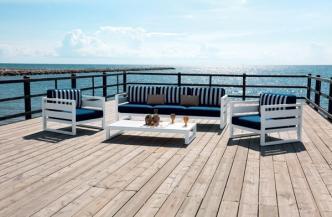 Fauteuil COSMOS en aluminium – Canapé 3 places COSMOS en aluminium – Table basse COSMOS en aluminium