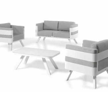 Fauteuil FERRETTI en aluminium – Canapé FERRETTI en aluminium – Table basse FERRETTI en aluminium
