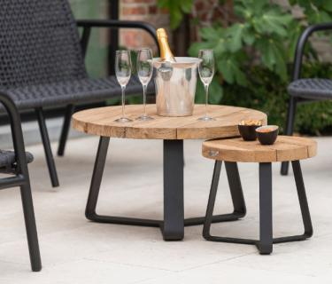 TABLES D'APPOINT MARGARITE ALU TECK